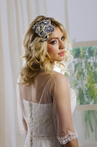 Clara, silver bridal headpiece