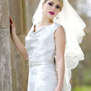 Seanna, Ivory and Silver Wedding Veils