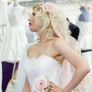 Lily Pink Silk Headband Wedding Veil