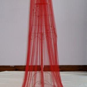 Red Silk Wedding Veil, Nicola