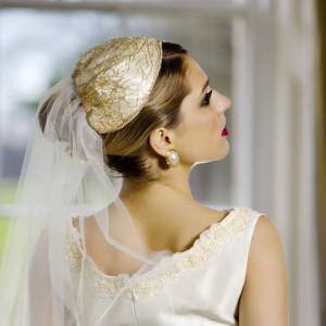 Belinda Gold Cap Veil 2