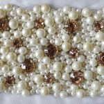 Belt 6 Ivory pearl and gold diamante