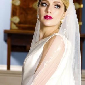 Ivory and gold Wedding Veils, Penelope