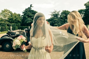 Natalie wearing her oval centre gathered veil with minimal gathering