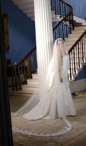 Sarah Lace centre gathered Wedding Veil with Blusher