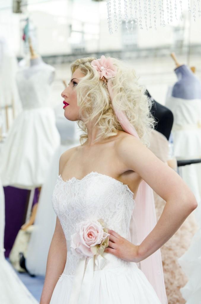 Lily Pink Silk Headband Wedding Veil