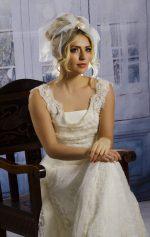 Model wears a 1960's wedding veil