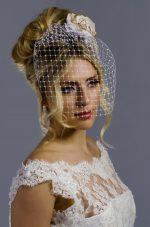 Model wear Full Face Birdcage Veil
