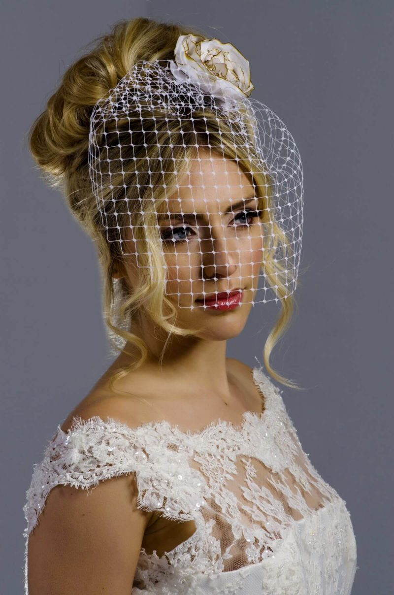 Model wear Full Face Birdcage Veil