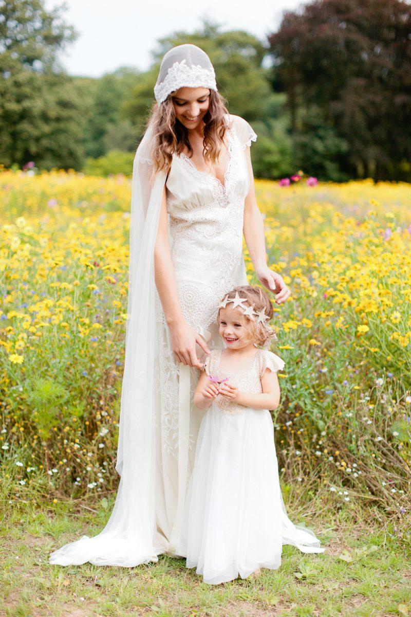 Vintage wedding veil styles, Clarissa Veil worn on location photoshoot at Coworth Meadow. Photography Eddie Judd