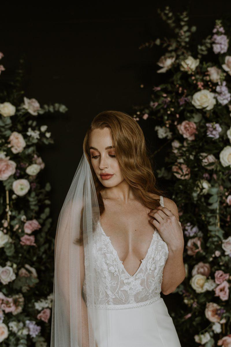 Soft Veil, Alyssa, model wear a wedding veil created in soft , non - catch nylon tulle