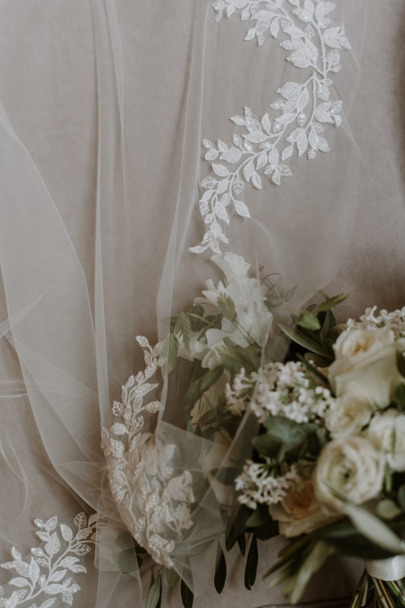 Leaf wedding veil, ivory beaded motif detail on the Alyssa veil