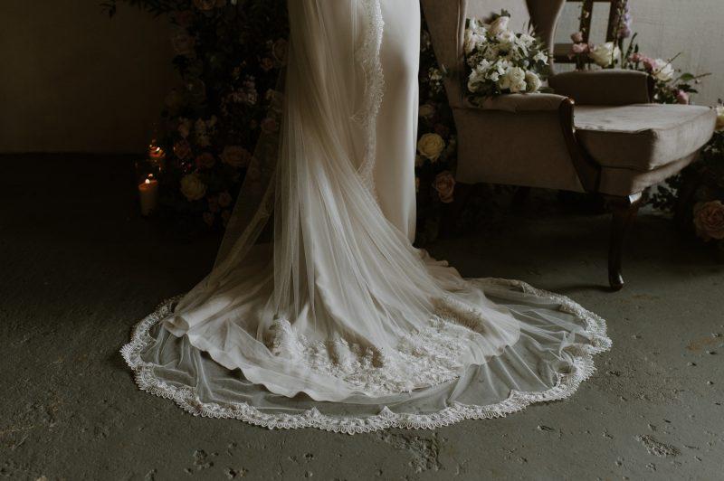 lace wedding veil, the gorgeous detail of the central motif design.