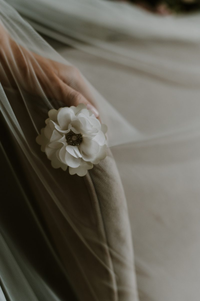 Floral wedding veil, the detail of the flower featured on the Bella Rose Veil