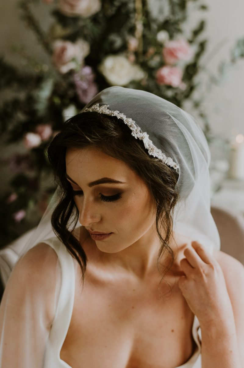 Vintage wedding veil styles, Ruth Cap veil, worn by model
