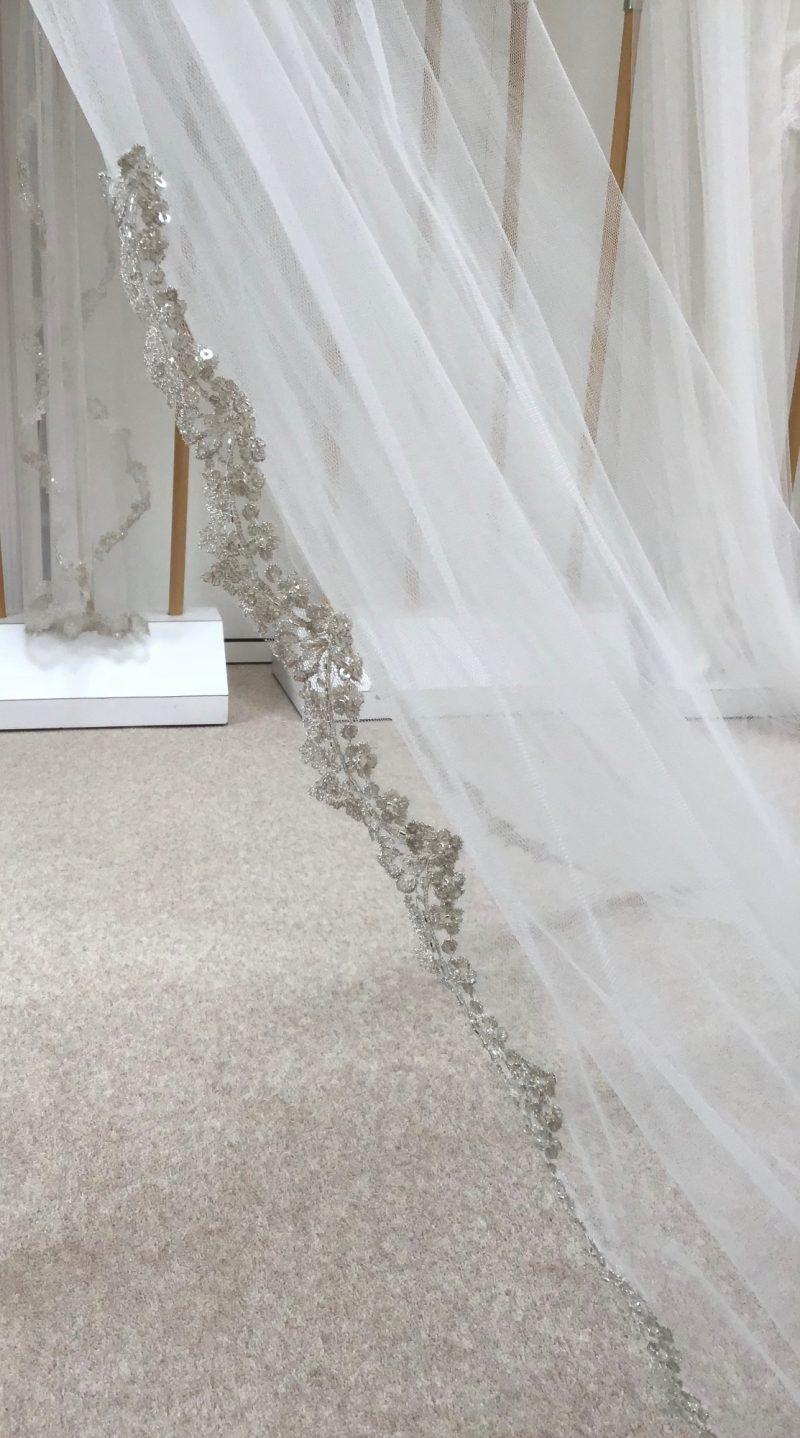 Silver metallic lace edging, Cathryn Veil,