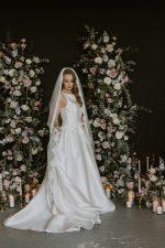 Model Wear a French Lace Wedding Veil