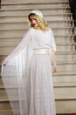 model wears a silk tulle juliet cap veil