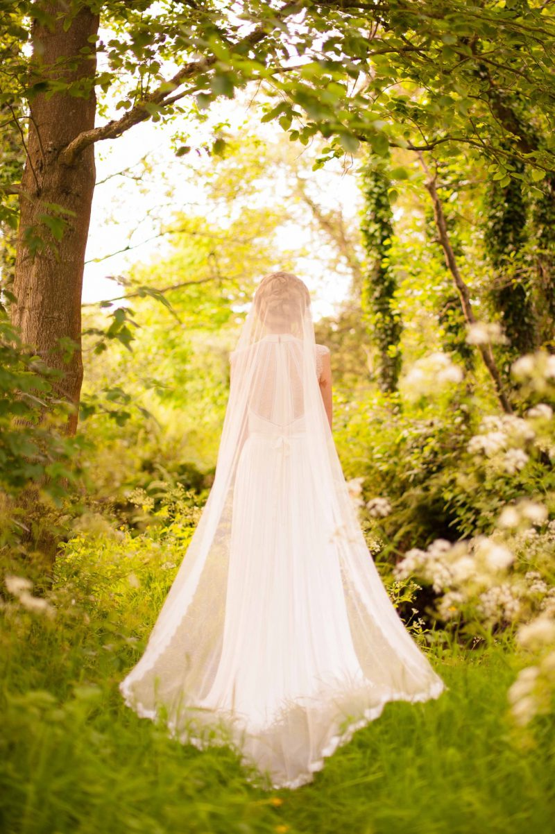 Silk and Lace Mantilla Veil worn by Model in Belfast countryside