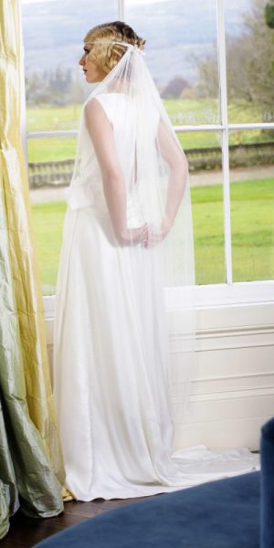 Soft silk tulle veil, Flavia worn by model at Drenagh House