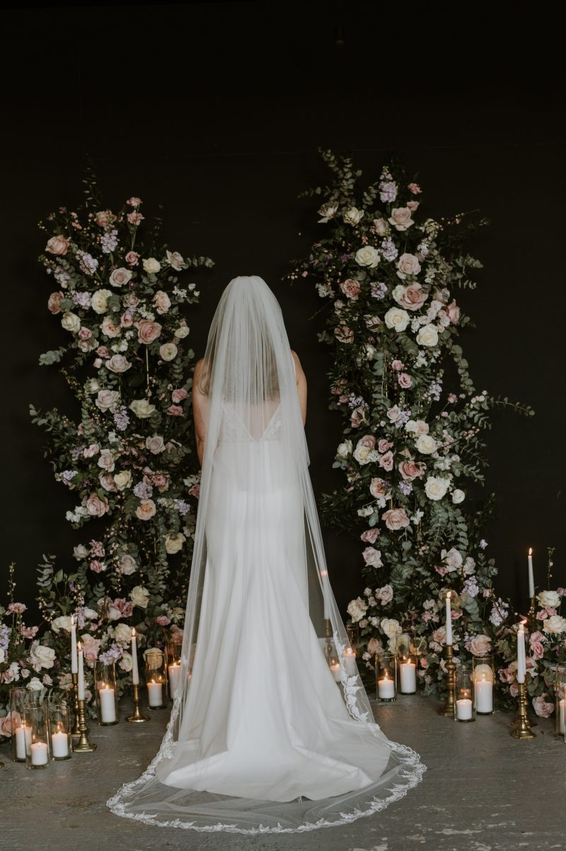 leaf edged wedding veils, model shows the back view of the Fleur veil