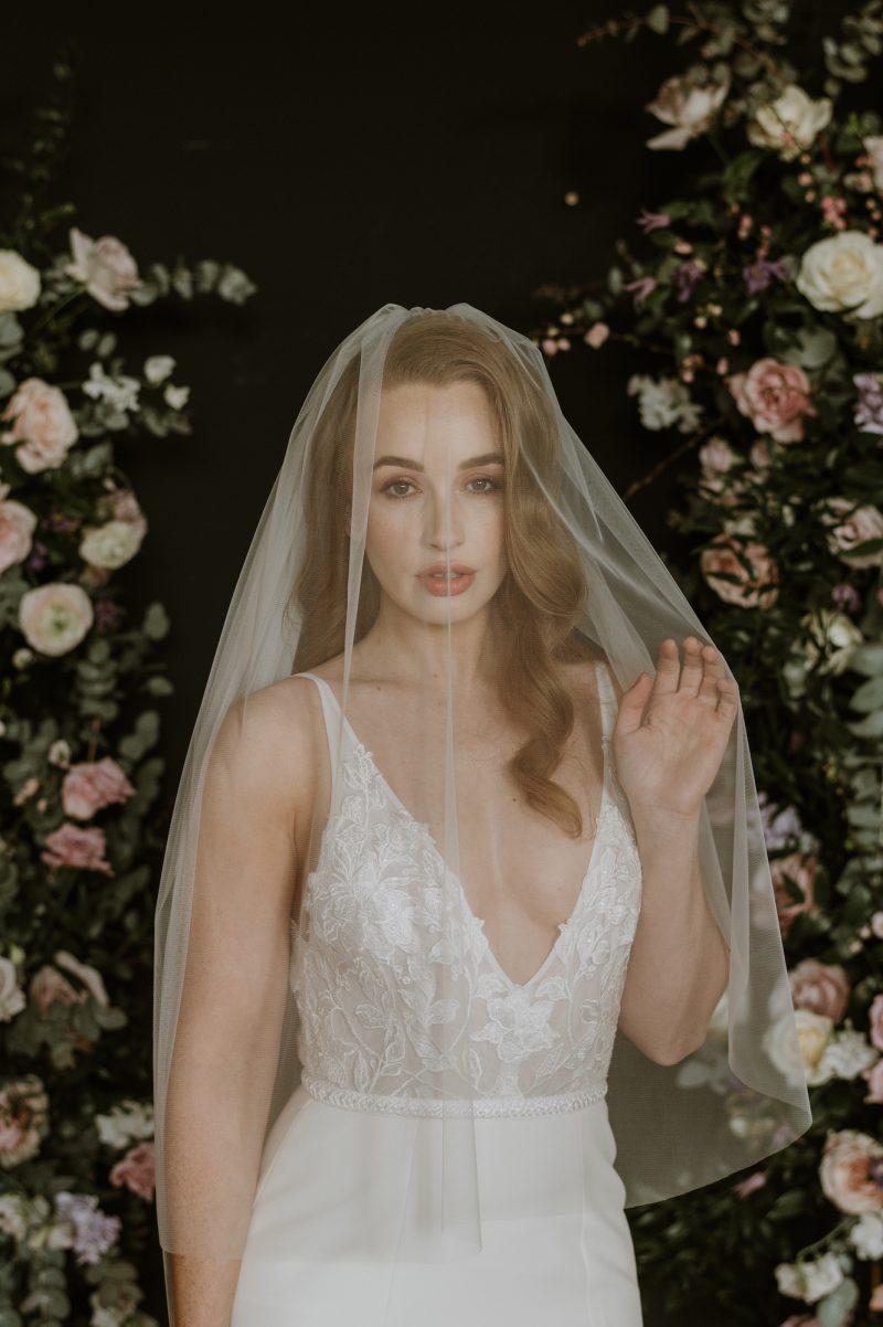 wedding veil blusher worn by model