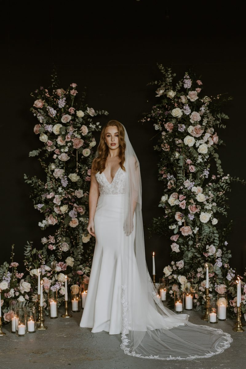 leaf edged wedding veils, Models wear our full length veil