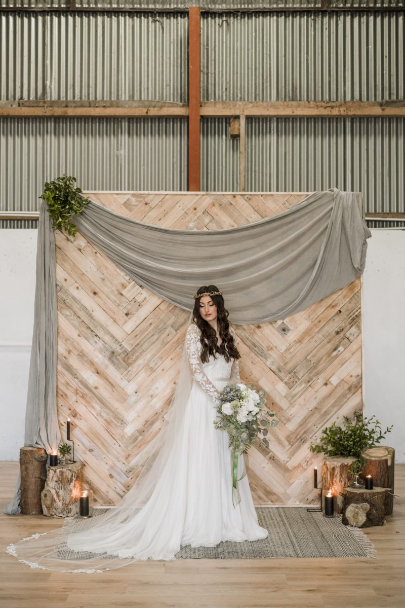 Lace flower motif wedding veil, Fressa, is style in our Breckenhill photoshoot.