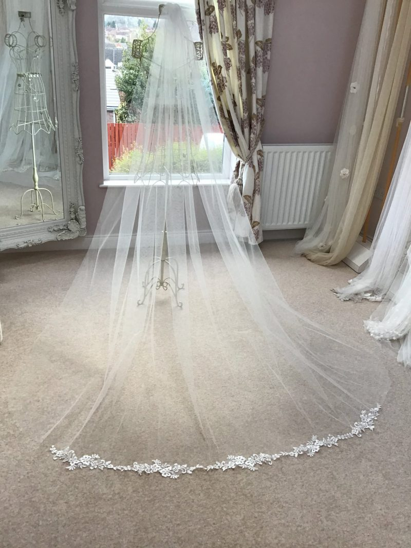 Lace flower motif wedding veil, Fressa, in our Belfast Visionary Veils studio.