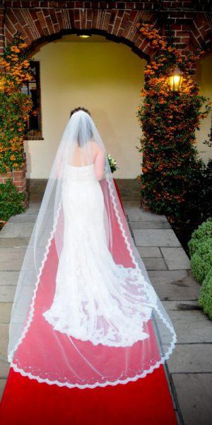 lace wedding veil worn by real Bride Julia, bespoke veil