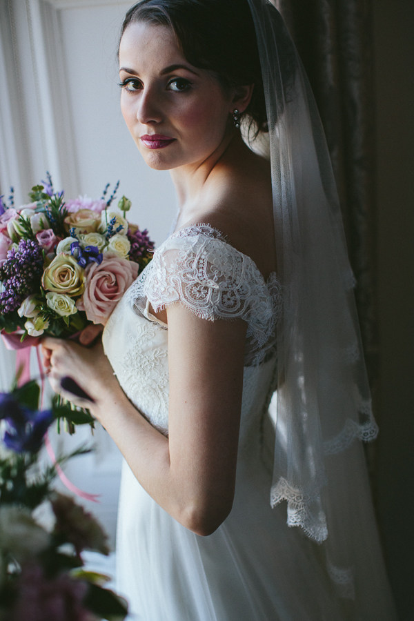 Silk tulle drop veil, models wears Kate Middleton Veil