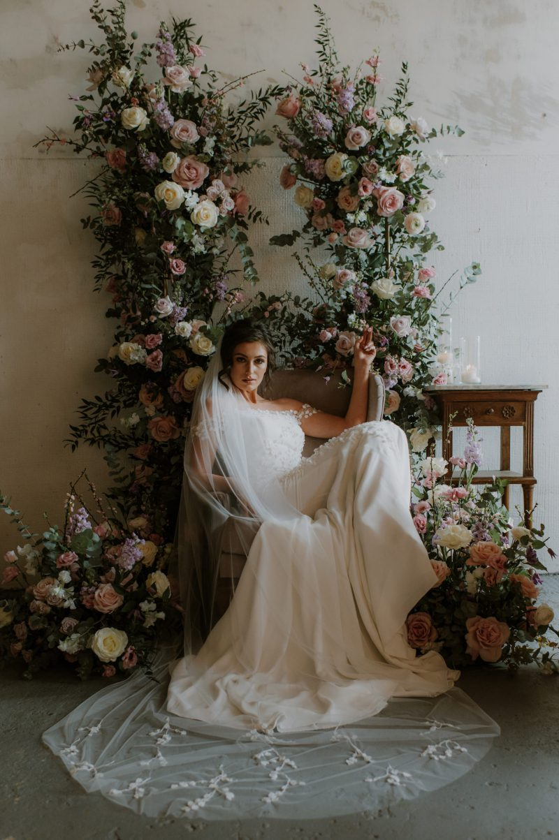 3D flower veil , Monroe veil worn by model sitting in the chair