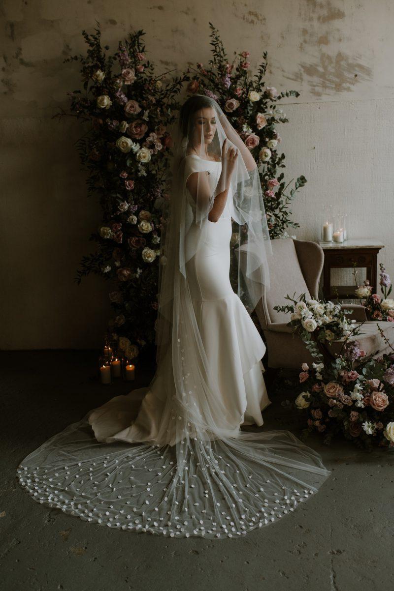 petal veil worn by model
