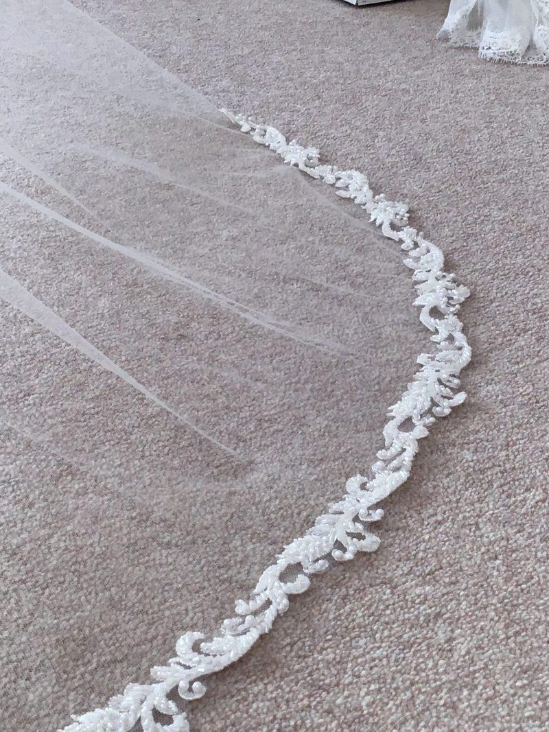 Ivory beaded wedding veils, scroll and beading detail on the Roberta wedding veil
