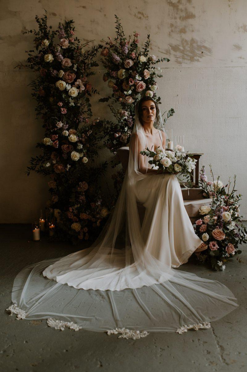 vintage wedding veil styles worn by model