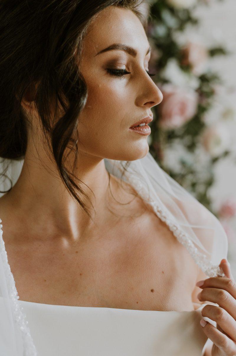 beaded veil trim, Sarah Veil worn by model