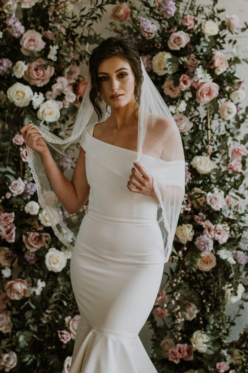 Beaded veil trim, Sarah Veil, worn by model