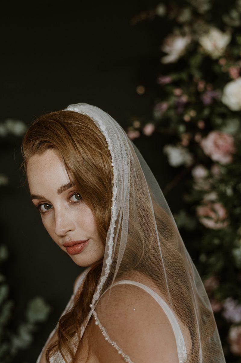 Pearl beaded veil, Sophia worn by model