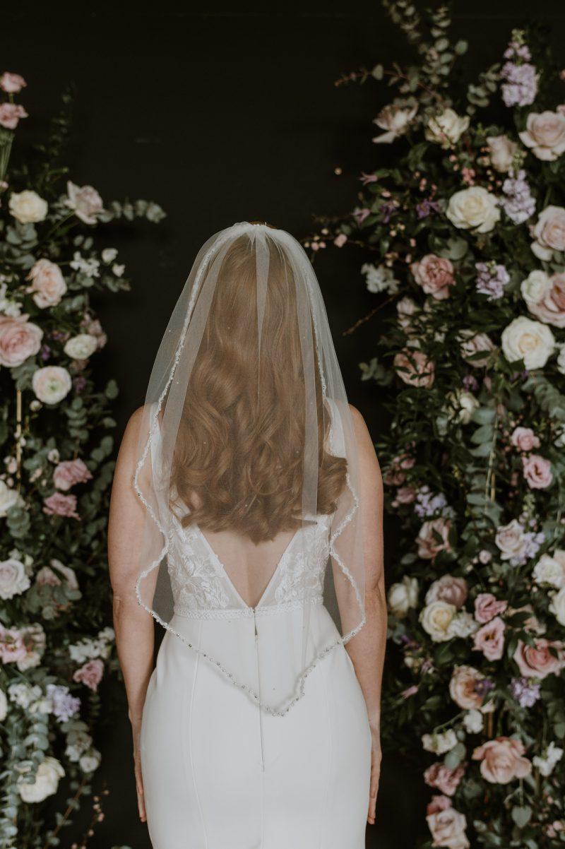 Pearl beaded veil, worn by model,