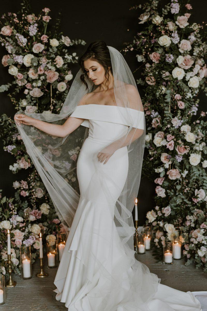 Sparkle Wedding veil worn by model