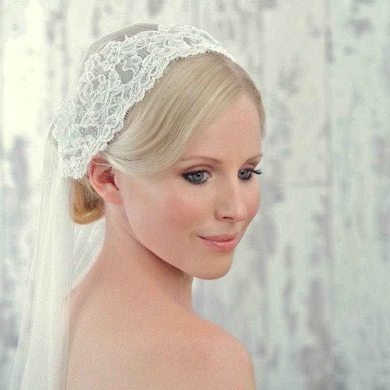 Vintage wedding veil styles, model wears corded lace cap detail