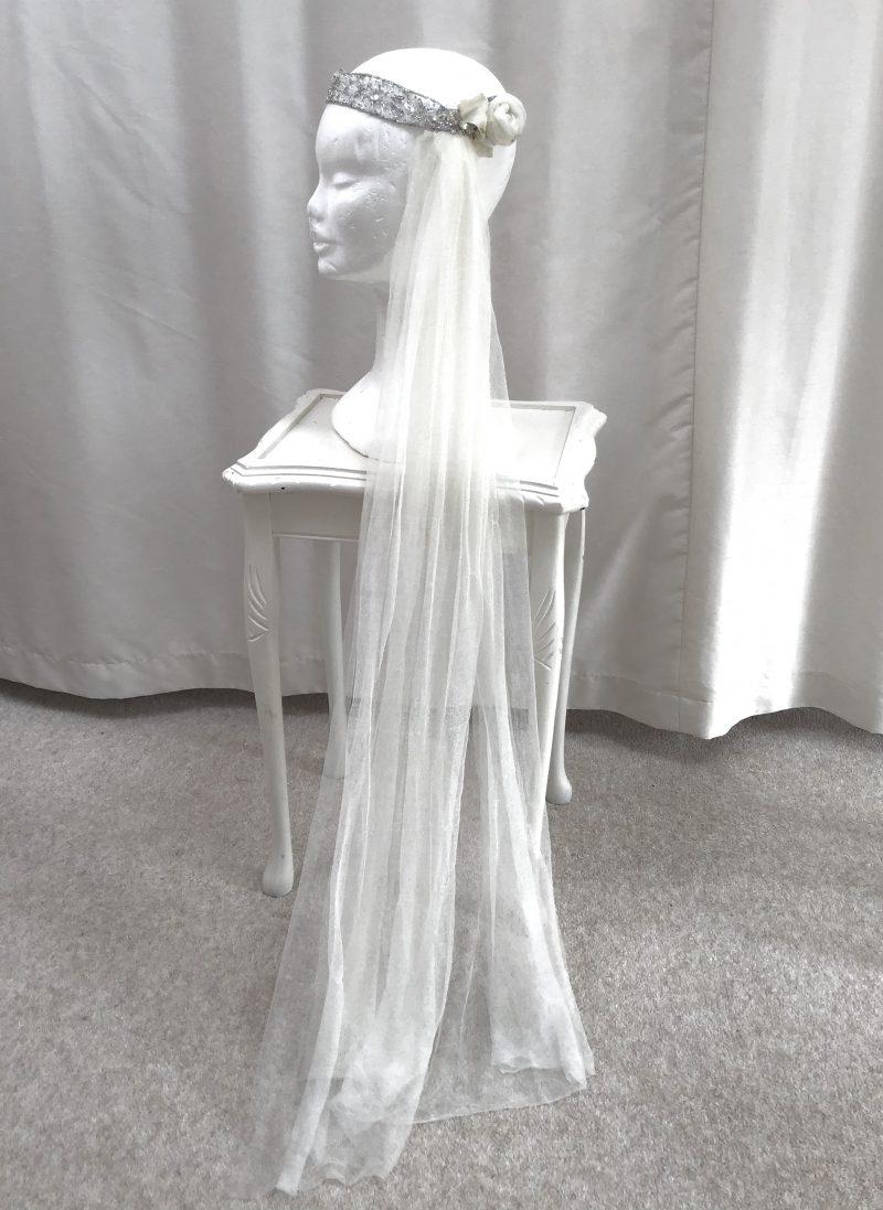 1920's Silk Veil with Crystal Headband | Scarlett