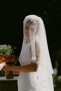 Drop Oval veil with French lace wedding