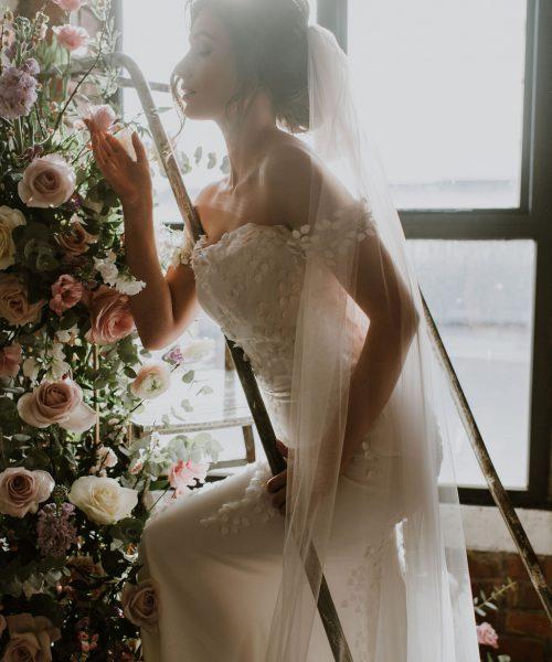 bespoke veil design, Monroe adorned with handsewn petals
