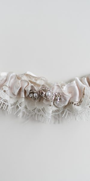 Bride to be gifts. french ivory lace with diamanté's detail