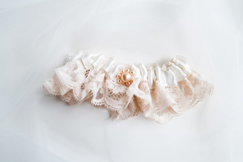 Wedding garter, champagne french lace with pearl detail