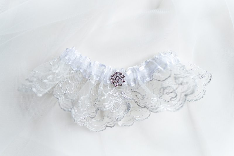Wedding Garter, silver and ivory detail with diamanté detail